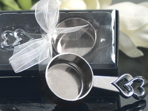 Elegant Chrome Double Heart Coffee Scoop C3400 Quantity of 1