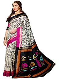 Gehna Black And White Floral Print Saree_GS_VF_11942