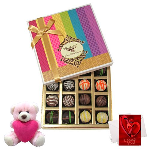 Smooth Sesame Truffles Treat With Teddy And Love Card - Chocholik Belgium Chocolates