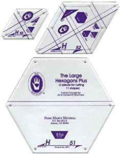 Amazon.com: Marti Michell Perfect Patchwork Templates, Large Hexagons ...