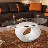 Table basse en verre avec pied blanc laqué...
