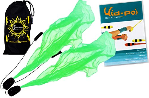 Flames N Games Angel Poi Set (Green) Practice Poi Aka Scarf Spiral Poi + Kid Poi Dvd + Travel Bag