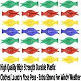 100 High Quality High Strength Durable Plastic Clothes/Laundry Nose Pegs - Extra Strong For Windy Weather Assorted Colour