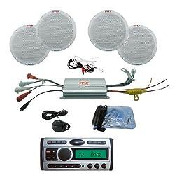 See Pyle Mega CD/MP3 Audio & Speakers Package for Boat/Car/Truck/SUV -- PLCDMR97 1.5-Din AM/FM Receiver CD/CDR/MP3/AM-FM Marine Grade Player + PLMRKT4A 4 Channel Waterproof MP3/ iPod Amplified 6.5' Marine Speaker System. Details