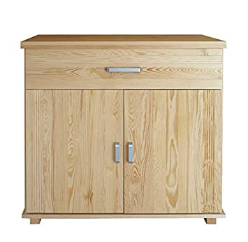 1 Drawer, 2 Door Sideboard Columba 03, solid pine wood, clearly varnished - H101 x W100 x D50 cm