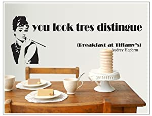 OneHouse You Look Tres Distingue Quote Audrey Hepburn Smoking Portrait Wall Mural by OneHouse