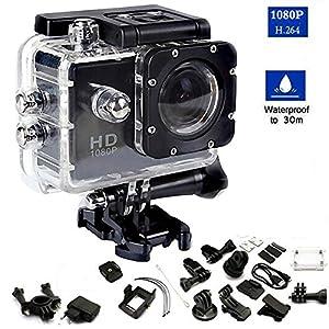 Cámara Acción Deportiva Water Resistant 30m 1080P FULL HD DV Grabadora 1,5