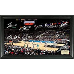 NBA San Antonio Spurs Basketball Court Photograph with Signatures by Bullion International