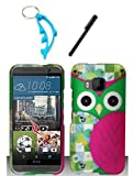 img - for 3 Items Combo For HTC One M9 Colorful Pink Owl 2D Design Hard Case Snap On Protector Cover + Free Stylus Pen + Free Alloy Beer Bottle Opener Dolphin Keychain book / textbook / text book