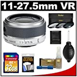 Nikon 1 11-27.5mm f/3.5-5.6 VR Nikkor-Zoom Lens (White) with 32GB Card + 3 UV/CPL/ND8 Filters + Accessory Kit for J1, J2 & V1 Digital Cameras