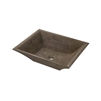 Rectangular Stone Vessel Bathroom Sink Sink Finish: Noche Travertine, Size: Small