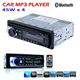 Regetek Bluetooth Car Audio Stereo Receiver Single DIN In-Dash 12V Fm Receiver With MP3 Radio Player 45W x 4 USB SD Input AUX Receiver + Remote Control