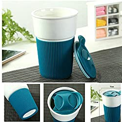 New Outdoor Sport Non Slip Ceramic Instant Coffee Mug Cups Burn Proof Insulation 350ML Capacity for Milk Tea Coffee Blue350ML