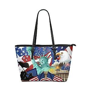 Women's Leather Large Tote HandBag American Flag Shoulder Bag