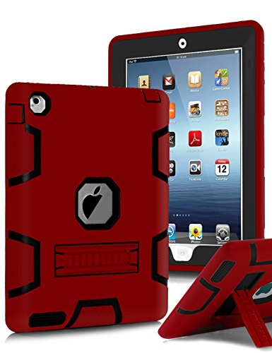 iPad 4 Case,iPad 3 Case,iPad 2 Case,TIANLI(TM) ArmorBox [Three Layer] Convertible [Heavy Duty] Rugged Hybrid Protective With KickStand Case For iPad 2/iPad 3/iPad 4 With Stylus,Red/Black