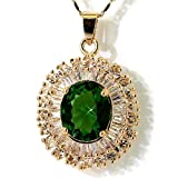 MyCullinan Emerald Color CZ Oval Yellow Tone Pendant with 18