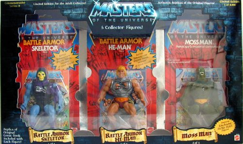 Buy Low Price Mattel Masters of the Universe – Commemorative Series 2 – 5 Figure set – Very Rare – Battle Armor Skeletor / Battle Armor He-Man / Moss Man / Zodac / Clawful – Mint – Collectible (B001F73HOI)