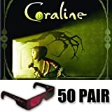 Coraline 3D Glasses Ultimate Party Pack (GLASSES ONLY 50 Pair)
