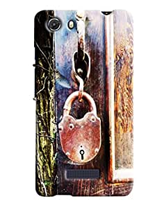 Blue Throat Old Lock Hard Plastic Printed Back Cover/Case For Micromax Unite 3