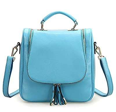 Feeten Blue Women Leather Little Monster Multifunctional Shoulder Bag Bagpack