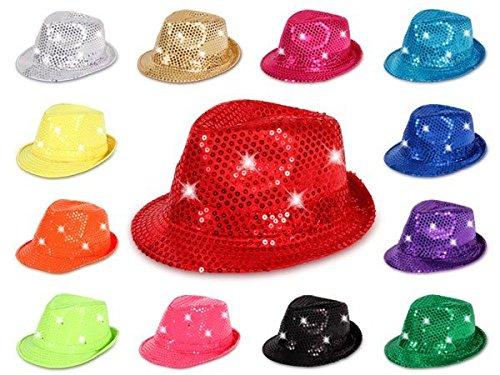 Alsino-LED-Hut-mit-Pailetten-Karneval-Clubstyle-Fasching-Partyhut-Trilby-Blink-Fedora-Bogart-Glitzerhut-Glitter