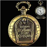 Nightmare Before Christmas Antique Style Bronze Pocket Watch with Chain