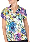 Caribbean Joe Rose Surprise Floral Print Polo Top