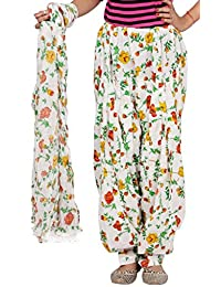 Rama White & Red Color Floral Design Cotton Printed Full Patiala