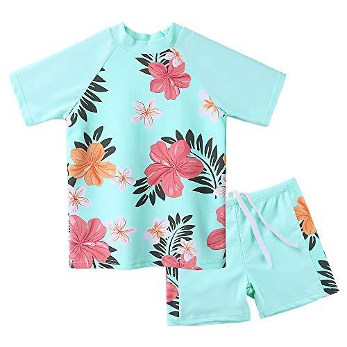 Girls Two Piece Swimsuits Short Sleeve Rash Guard Swimwear Set Swim Shirt Set