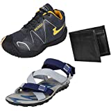 Bersache Men Canvas Combo Pack Of 3 Sports.Shoe & Sandal With Wallet