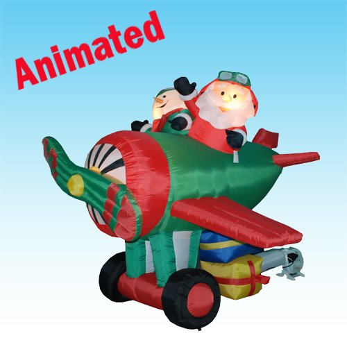 6 Foot Animated Christmas Inflatable Santa Claus Driving Airplane + Snowman Blow up Yard Decoration