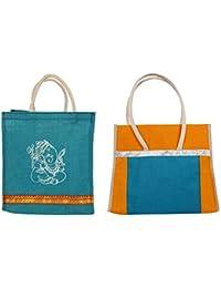 Cristal Bags Jute Shopping Bags (Pack Of 2, Jute-707)