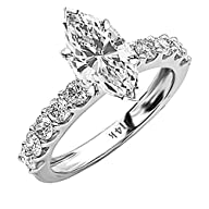 1.9 Carat t.w. GIA Certified Marquise Cut 14K White Gold Classic Side Stone Prong Set Diamond…