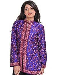 Exotic India Royal-Blue Jacket From Kashmir With Ari Hand-Embroidered Pai - Blue