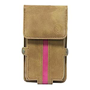Jo Jo A6 Nillofer Series Leather Pouch Holster Case For NOKIA LUMIA 810 Tan Pink