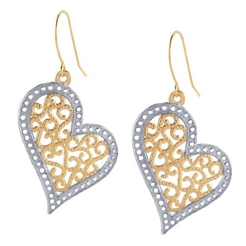 14K Yellow and White Gold Filligree Heart Drop Earrings