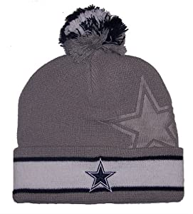 Dallas Cowboys NFL Double Logo Youth Knit Pom Cuff Beanie Cap Hat Authentic NEW by Dallas Cowboys Authentic Apparel