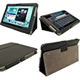 igadgitz Schwarz 'Portfolio' PU Leder Tasche Schutz Hülle Schutzhülle Ledertasche Lederetui Etui Case Cover für Samsung Galaxy Tab 2 10.1 P5100 P5110 3G & WiFi Android 4.0 Internet Tablet + Display Schutzfolie