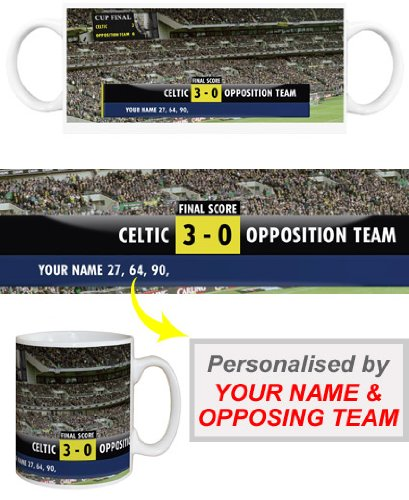 """Fußball Tasse, personalisiert, Motiv """"Punkte einen hübschen Hut-trick, für Celtic FC,"""