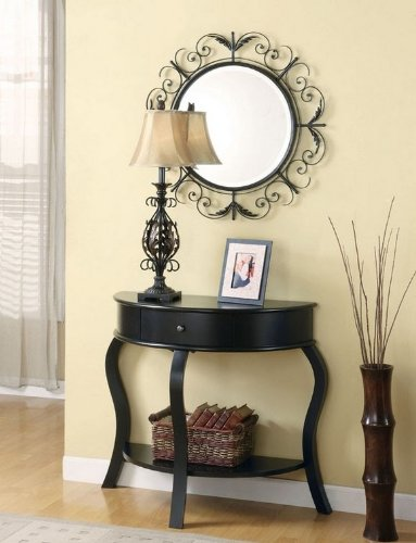 Cheap 3pc Entry Way Console Table, Mirror and lamp Set in Matte Black Finish (VF_AZ00-77431×35711)