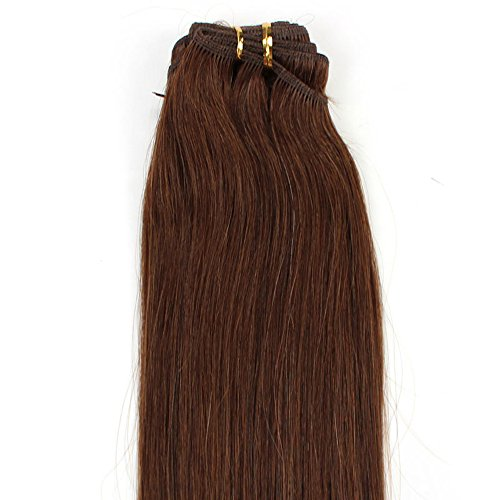 Hairqueen 20 Inch 9 Colors Straight Clip-In Human Hair Extensions 100% Virgin Peruvian Hair,Chatain(#6) 100G