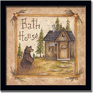 Bath House Country Bear Art Print Picture Framed 10x10