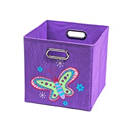 Nuby Folding Laundry Bin, Purple Butterfly