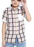 (コ-ランド) Co-land 子供服 男の子 シャツ 半袖 ワイシャツ 格子縞 チェック柄 キッズ用 ベビー ボーイズ ジュニア 男児 トップス カジュアル 夏着 オフホワイト 140