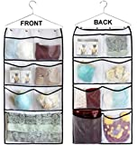 Misslo Durable Hanging Closet Double Sided Bra Stocking Clothes Socks Organizer with Large Mesh Pockets (15 Large Pockets, White)