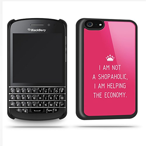 Shopaholic Quote Funny Joke Cute Haha Silly Phone Case Shell For Blackberry Q10 - Black