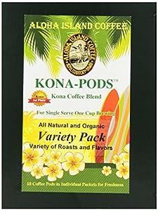 Aloha Island Coffee KONA-POD, Variety Pack of our Kona & Hawaiian Coffee Blend, 36-Count Coffee Pods