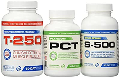 Muscle Builder Stack Supplements-Testosterone Booster for Men, Fat Burner, Nitric Oxide Supplement,S-500,T-250 and Platinum PCT, 3 Bottles Muscle Stack, 30 day Supply, Ultimate Shredded Stack, Muscle Builder, Lose Your Gut, Full Body Muscle Supplements, (
