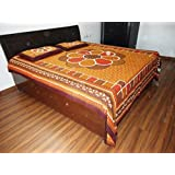 Jaipur Textiles Sponsored Cotton Double Bedsheet With 2 Pillow Covers , Sanganeri- Rajasthani Print , Geometric...