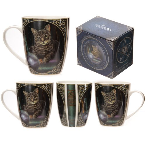 Puckator - Tazza in porcellana bone china, con gatto chiromante, design Lisa Parker
